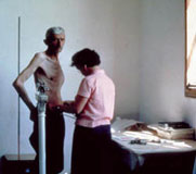 Dalmatia: farmer in anthropometry station, 1958